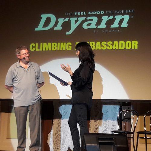 Kay Rush and Mike Kosterlitz, The Dryarn Climbing Ambassador Award 2017 winner.