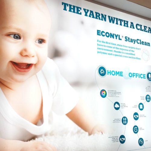 La comunicazione  del prodotto di punta di Aquafil, ECONYL® Stay Clean, quest'anno sviluppata su una parete retroilluminata.