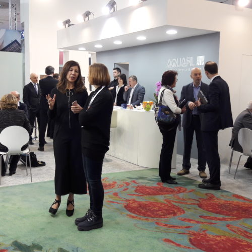 The famous Green Carpet of the Fashion Event of Milan in the Aquafil booth at Domotex 2018.