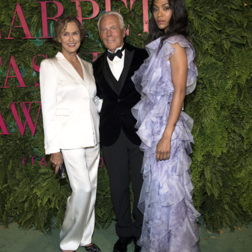 Giorgio Armani with actress Zoe Saldana and actress Lauren Hutton  Pic Credit: Dave Benett