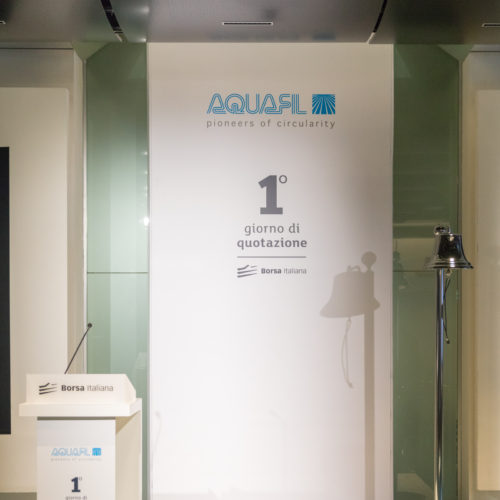 Inside Palazzo Mezzanotte, Borsa Italiana, the communication of Aquafil listing.