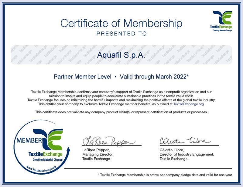Aquafil S.p.A. - Textile Exchange Membership Certificate 2021