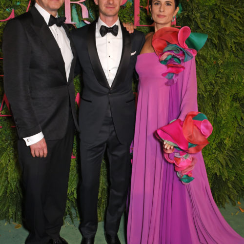 Colin Firth, Andrew Garfield and Livia Firth attend the Green Carpet Fashion Awards, Italia, at Teatro Alla Scala on September 24, 2017 in Milan, Italy.   Pic Credit: Dave Benett