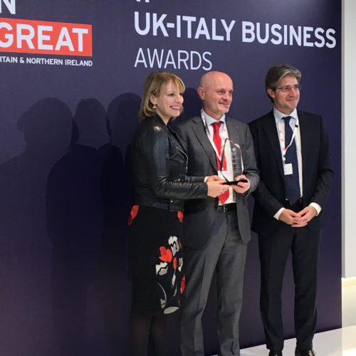 Giulio Bonazzi and Jill Morris, Ambassador of S.M. British in Italy