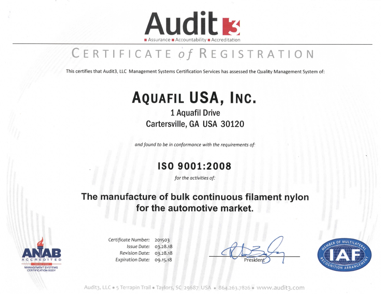 Aquafil usa iso 9001 2015 aquafilusa yelopaper Gallery