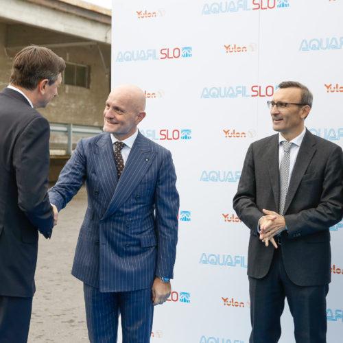 Giulio Bonazzi pozdravlja predsednika države Boruta Pahorja, poleg z leve: italijanski veleposlanik Paolo Tichilo in Edi Kraus