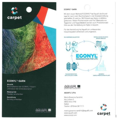 The folder distributed at fair by AQUAFIL for the communication of the ECONYL® regeneration process.