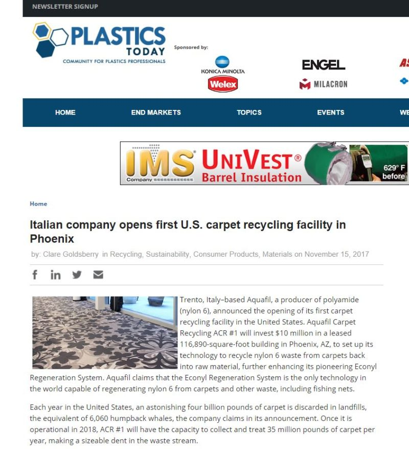 plastics today aquafil carpet recycling